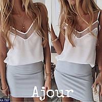 """Базовая летняя свободная блузка-топ на тонких бретельках с прозрачной отделкой """"Naomi"""" белая"""