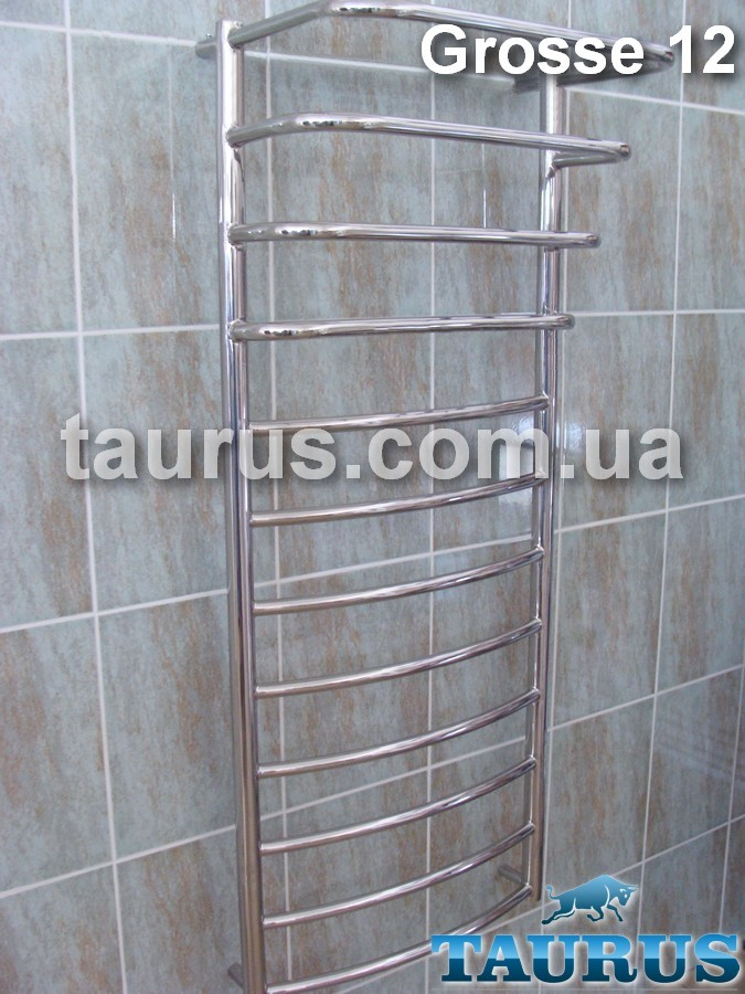 Узкий большой полотенцесушитель Grosse 12-4 из нержавеющей стали /1250х400 мм. Каскадные перемычки