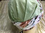 Зеленая бандана чалма с цветным жгутом хлопок батист, фото 2