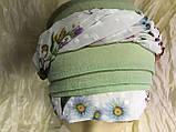 Зеленая бандана чалма с цветным жгутом хлопок батист, фото 3