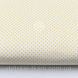 """Лоскут ткани """"Пунктирный горошек"""" жёлтый на белом №1934, фото 2"""