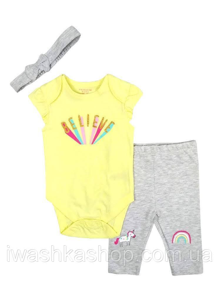 Стильный летний комплект, боди, лосины и повязка на девочек 3 - 6 месяцев, р. 68, Primark