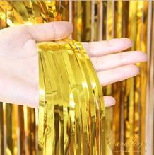 Золотий дощик для фотозоны - висота 1 метр, ширина 1 метр, двосторонній