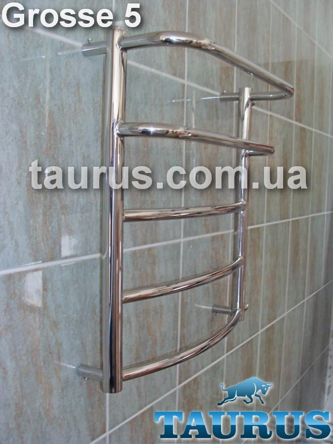 Невысокий нержавеющий полотенцесушитель Grosse 5-2 / Высота: 550 х Ширина 500 мм.
