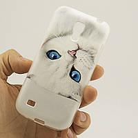 Чехол Print для Samsung S4 Mini силиконовый бампер Cat white