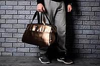 Спортивная сумка из эко кожи стильная модная вместительная Nike, цвет золотой, фото 1