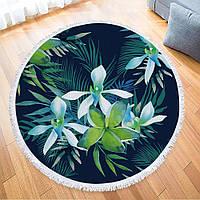 Пляжный коврик Цветы с бахромой плотный микрофибра (150 см) FL111