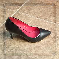 Женские туфли Mengting B-1 черная кожа, 37