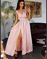 Платье шелковое вечернее в пол
