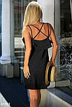 Летнее платье на тонких бретельках с воланом черное, фото 3