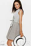 Короткое платье мини на запах в полоску серое, фото 2