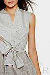 Короткое платье мини на запах в полоску серое, фото 4