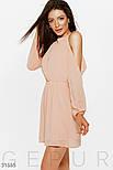 Нежное короткое платье с вырезом халтер персиковое, фото 2