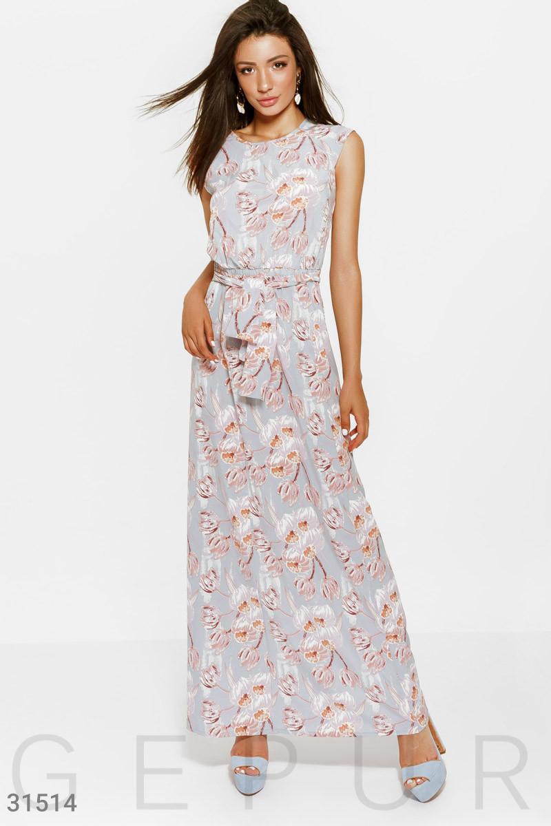 Летнее платье макси в цветочный принт голубое