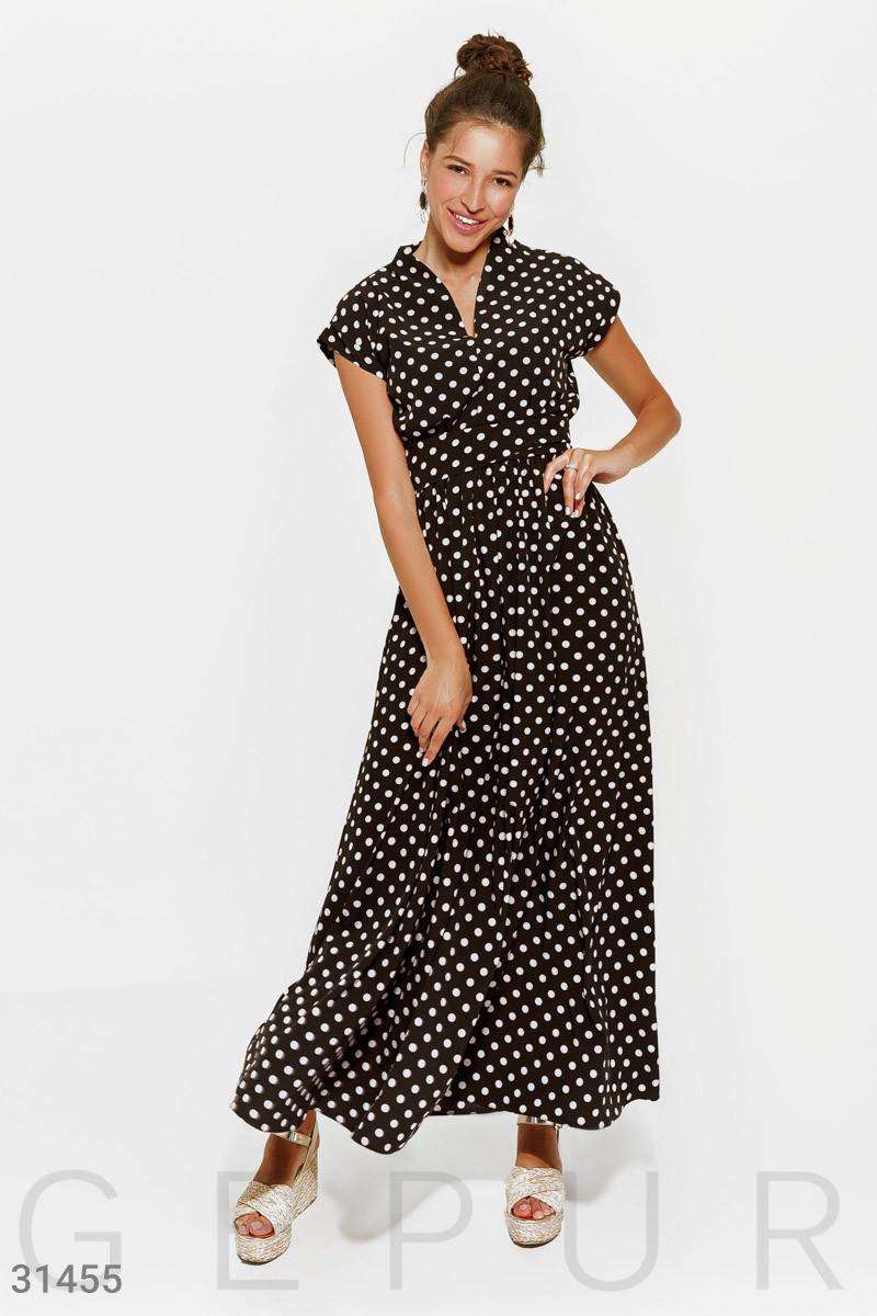 Платье-макси в горошек с поясом черное
