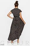 Платье-макси в горошек с поясом черное, фото 3