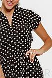 Платье-макси в горошек с поясом черное, фото 4