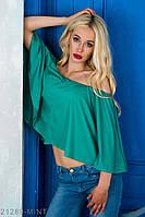 Яркая и воздушная летняя блузка-воланом со спущенными плечами Rene