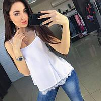 """Шелковая летняя блуза с кружевом на тонких бретелях """"Perfect"""" молочного цвета"""