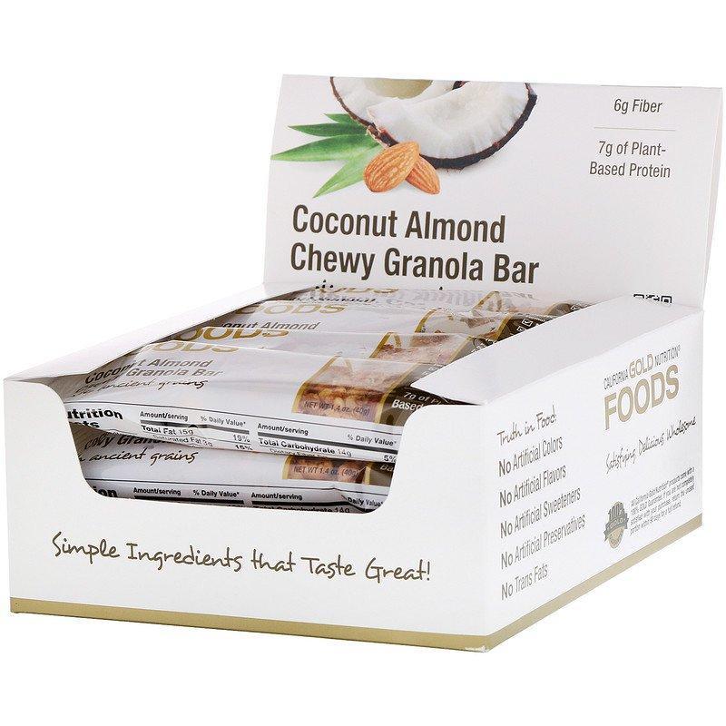 Батончики California GOLD Nutrition, FOODS с кокосом, миндалем и гранолой (12 батончиков по 40 г)