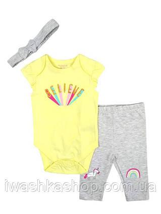 Летний костюм, боди, лосины и повязка на голову для девочек 9 - 12 месяцев, р. 80, Primark