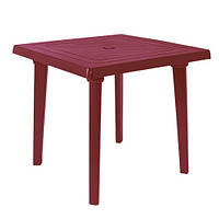 Пластиковый квадратный стол, вишневый