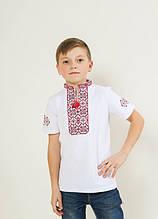 """Вышиванка для мальчика """"Иванко"""" красная с черным 116"""