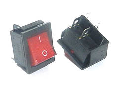 Переключатель KCD2-201/N   ON-OFF  (4pin)  красный  16А;250v  Daier