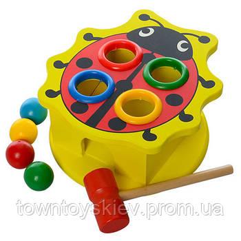 Деревянная игрушка стучалка MD 0045 ( 0045-3 (Божья Коровка)  с молоточком)