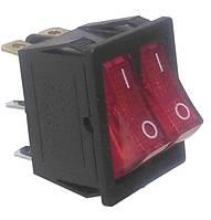 Переключатель двухклавишный (KCD8-212N ,6 конт, Красный