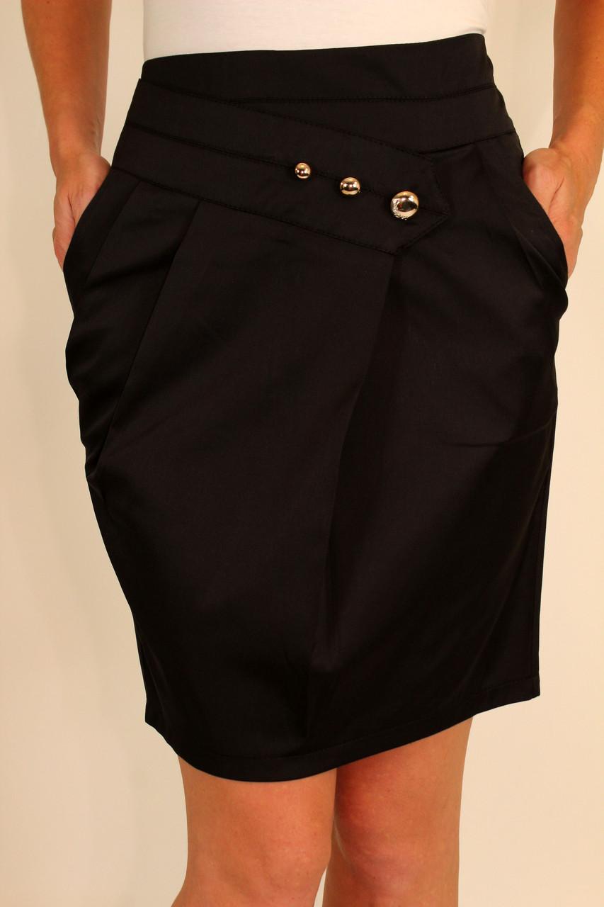 Молодежная черная юбка 42-48 р
