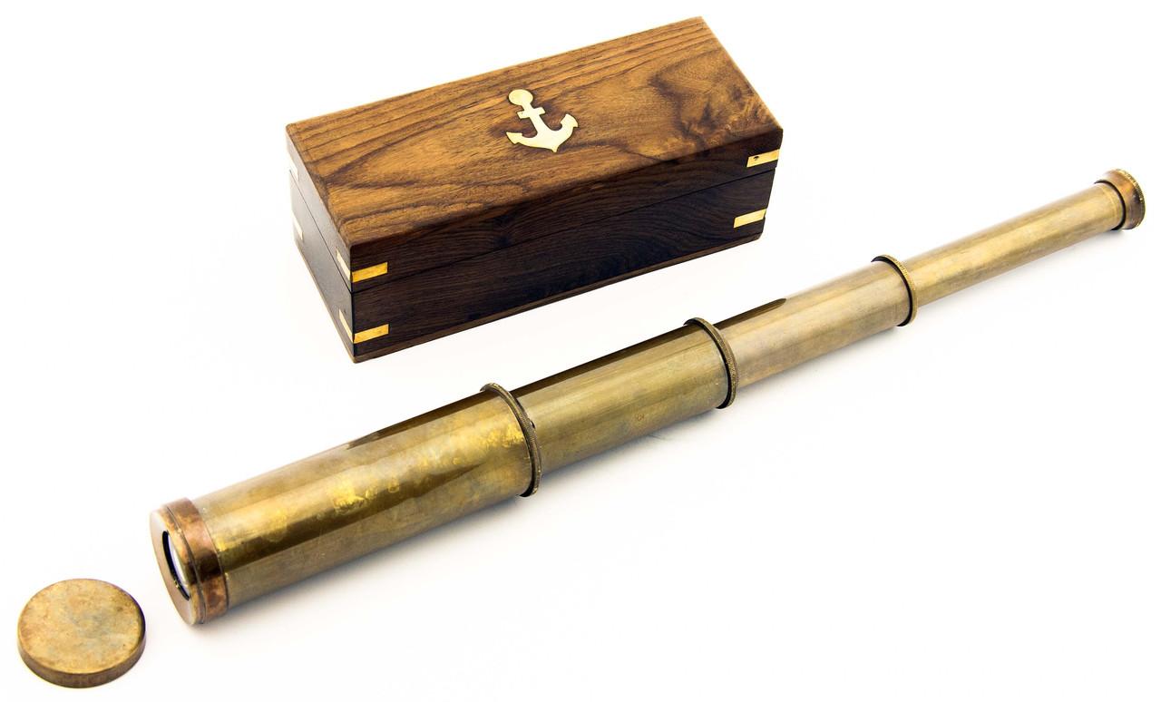 Подзорная Труба Бронзовая в Деревянной шкатулке 40 см, фото 1