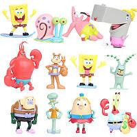 Фигурки героев мультфильма Губка Боб квадратные штаны 12 штук