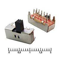 Выключатель ползунковый SK42D01, малый серебристый угловой, 12 Pin , 2 положения