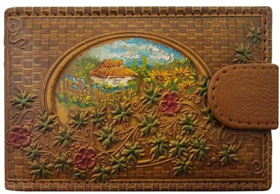 """Визитница карманная кожаная с ручной росписью на магнитной кнопке """"Барвинок"""""""
