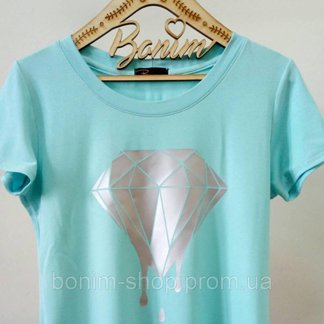 Мятная женская футболка с принтом Бриллиант