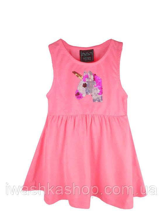 Трикотажный неоново-розовый сарафан с единорогом на девочек 2 - 3 лет, р. 98, Primark