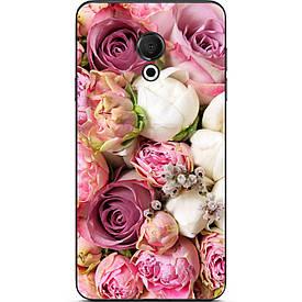 Чехол силиконовый с картинкой для Meizu 15 Lite Розовые цветы