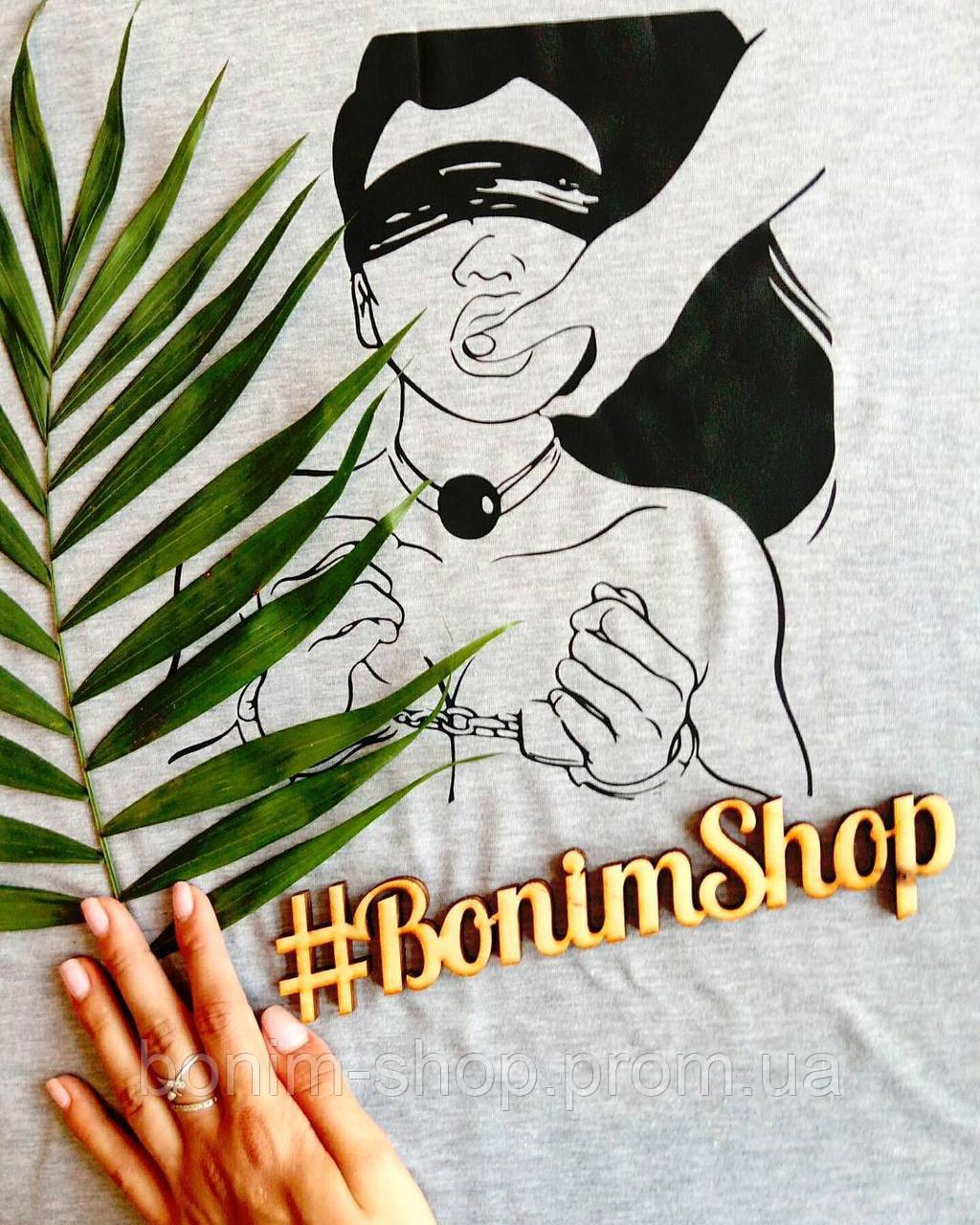 Женская белая футболка с принтом BDSM