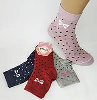 """Женские парфюмированные стрейчевые носки """"Ducks"""". Средней высоты. Хлопок. Бантики/горошки., фото 1"""