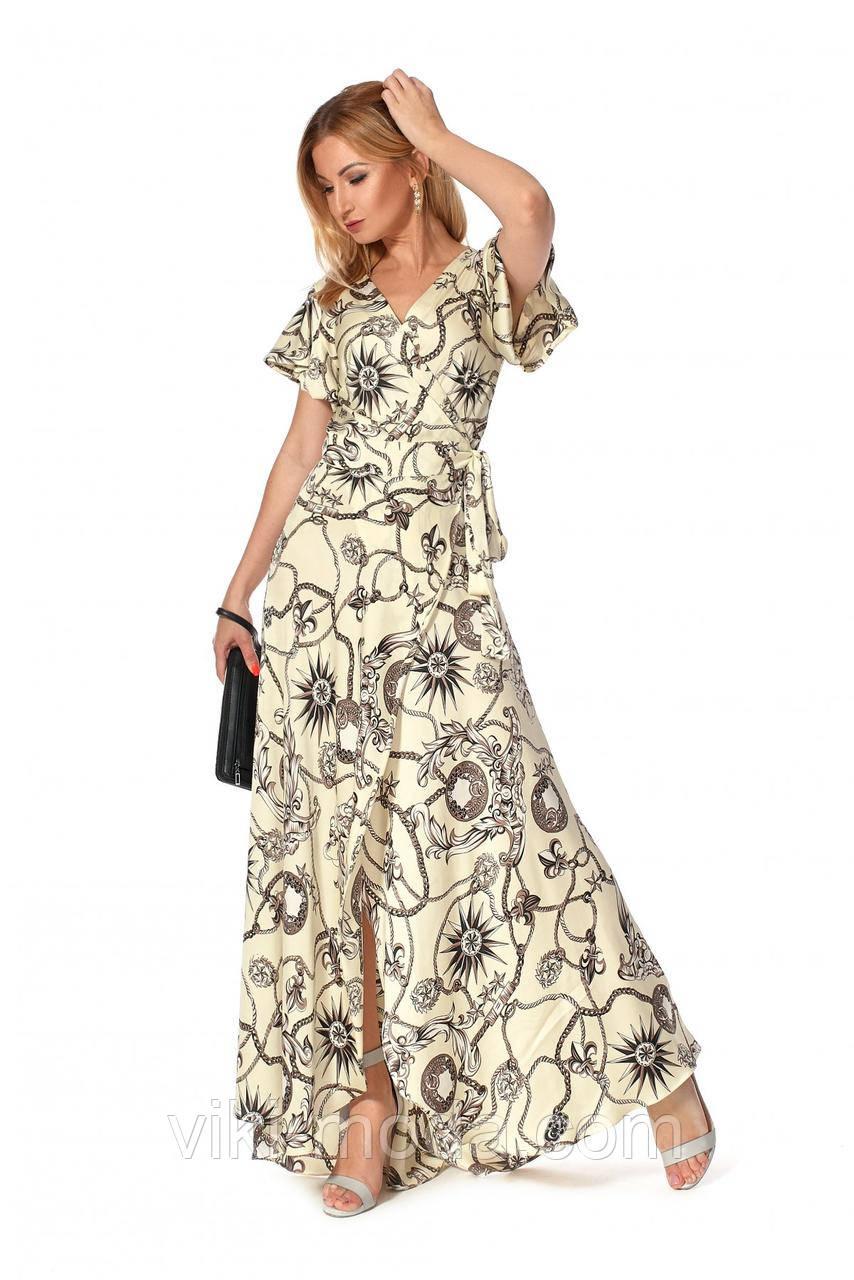 Романтическое, женское платье в пол из шелка, желтого цвета