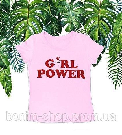 Розовая женская футболка с принтом Girl power