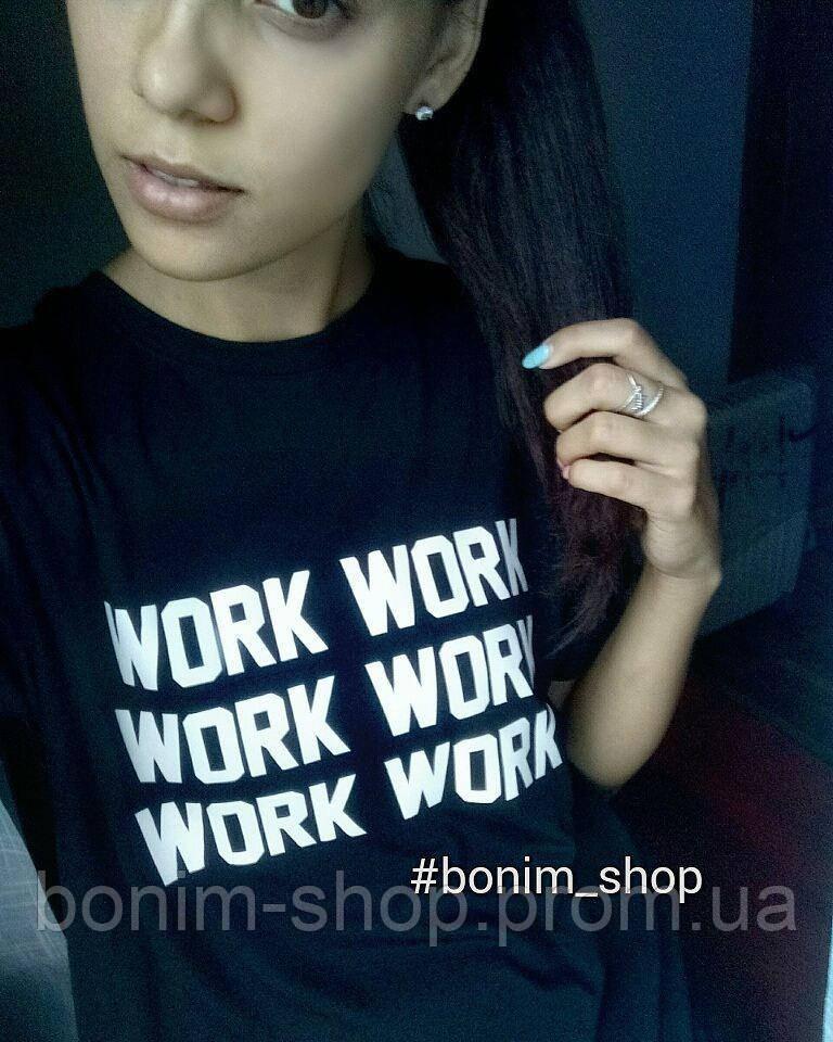 Черная женская футболка с принтом Work work