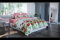 Постельное белье, 100% хлопок, ткань ранфорс, полуторное постельное с маками 150*215см,  Маковый букет