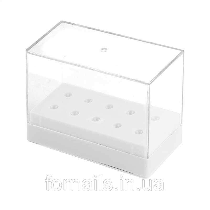Подставка прямоугольная для фрез (насадок) с крышкой, на 10 шт, белая