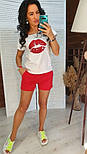 """Женский костюм """"Губы"""" : футболка и шорты (в расцветках), фото 2"""