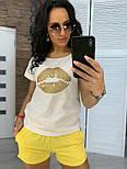 """Женский костюм """"Губы"""" : футболка и шорты (в расцветках), фото 4"""