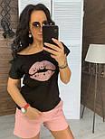 """Женский костюм """"Губы"""" : футболка и шорты (в расцветках), фото 10"""
