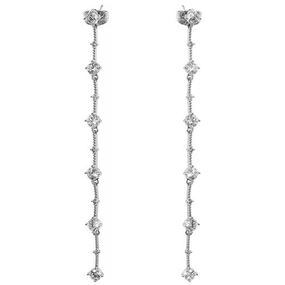 Серьги-гвоздики родий 8,7 см