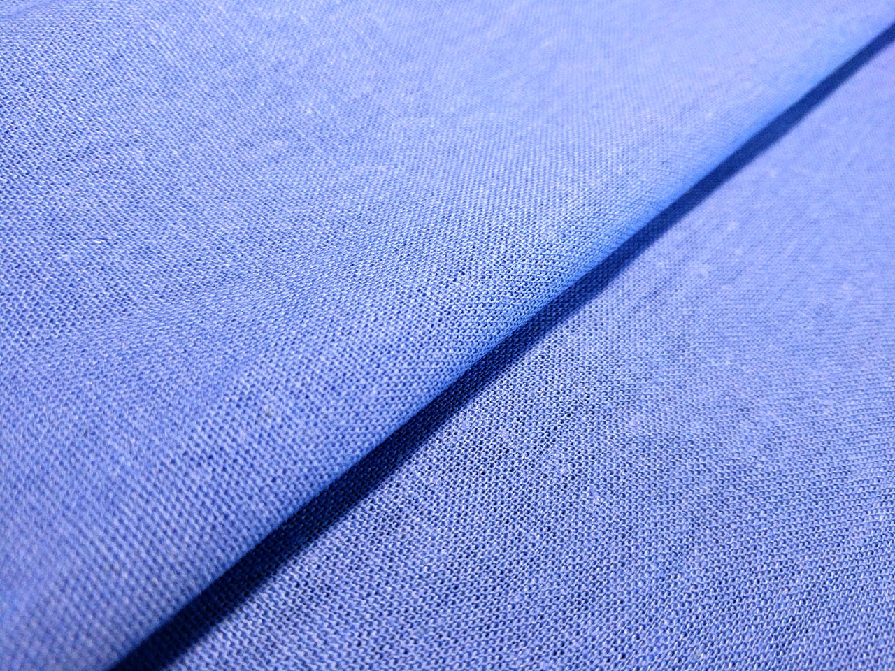 Лен однотонный, голубой джинсовый